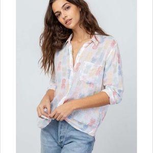 Rails Charli Linen Rainbow Pinas Shirt Size M NWT